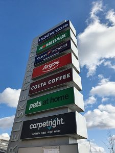 Signage at the out of town Treliske Retail Park, Truro