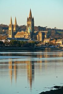 Picturesque views of Truro's Cathedral across the river